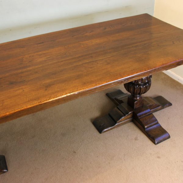 Antique Large Oak Refectory Farmhouse Dining Table