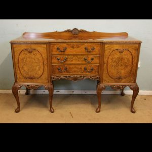 Burr Walnut Queen Anne Style Sideboard
