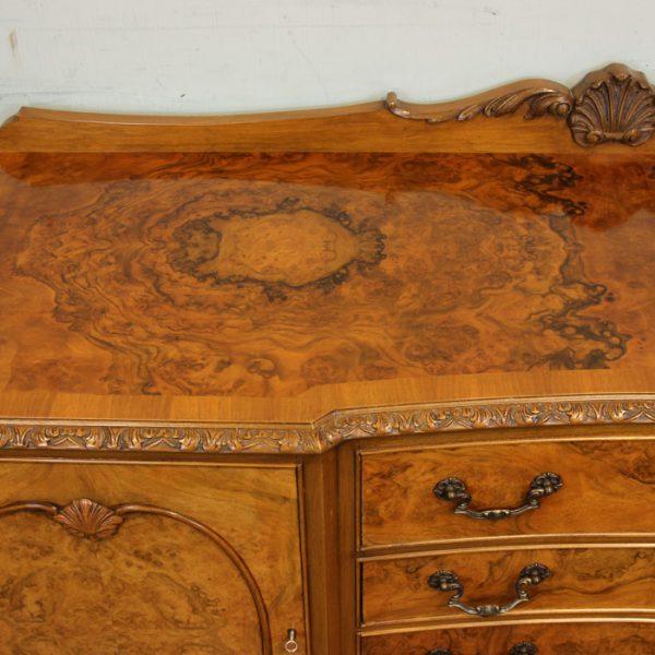 Burr Walnut Queen Anne Style Sideboard