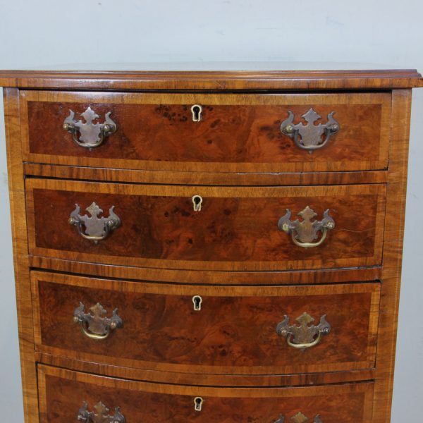 Burr Walnut Bow Front Small Chest of Drawers.