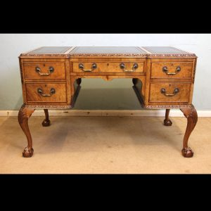 Queen Anne Style Burr Walnut Writing Desk