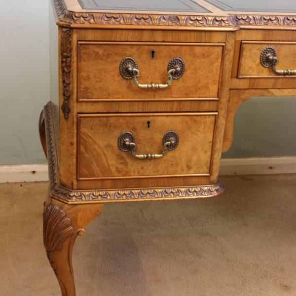 Queen Anne Style Burr Walnut Writing Desk