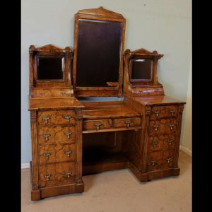 Antique Victorian Burr Walnut Secretaire Dressing Table