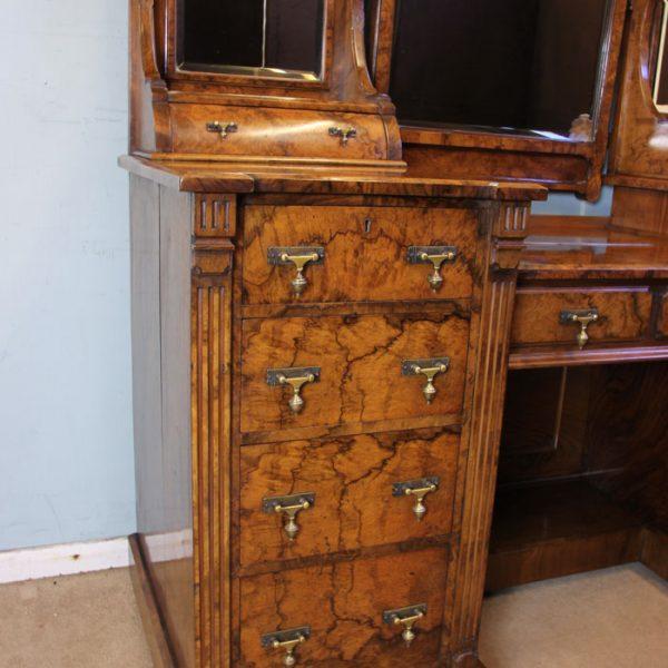 Antique Victorian Burr Walnut Secretaire Dressing Table