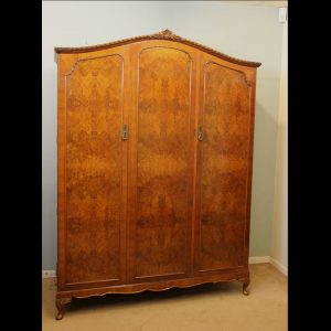 Quality Burr Walnut Triple Wardrobe