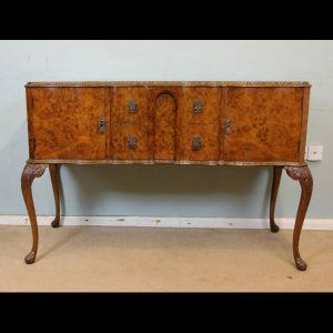 Antique Burr Walnut Serpentine Queen Anne Style Shaped Front Sideboard