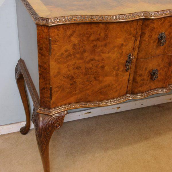 Burr Walnut Serpentine Queen Anne Style Shaped Front Sideboard