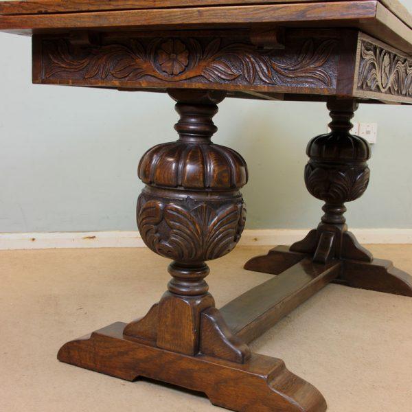 Antique Refectory Oak Draw Leaf Farmhouse Dining Table