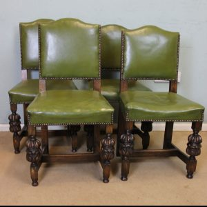 Four Padded Back Country Oak Dining Chairs