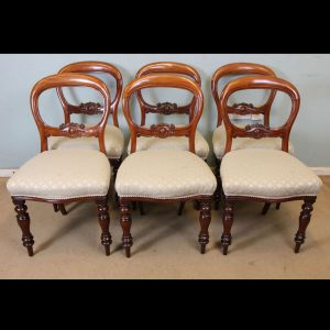 Antique Set of Six Victorian Mahogany Balloon Back Dining Chairs.