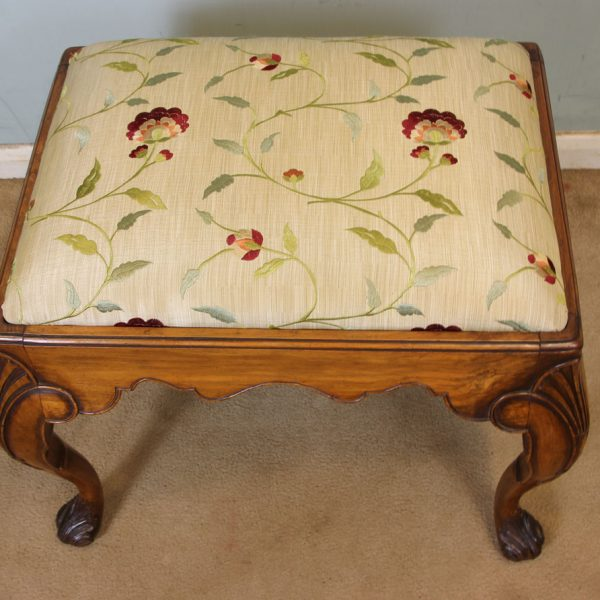 Antique Queen Anne Style Walnut Dressing Table Stool