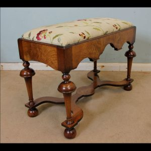Antique Quality Walnut Dressing Table Stool
