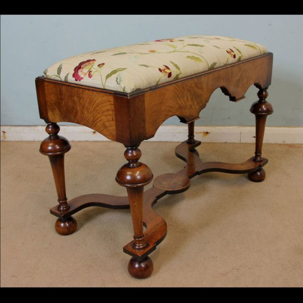 Antique Quality Walnut Dressing Table Stool