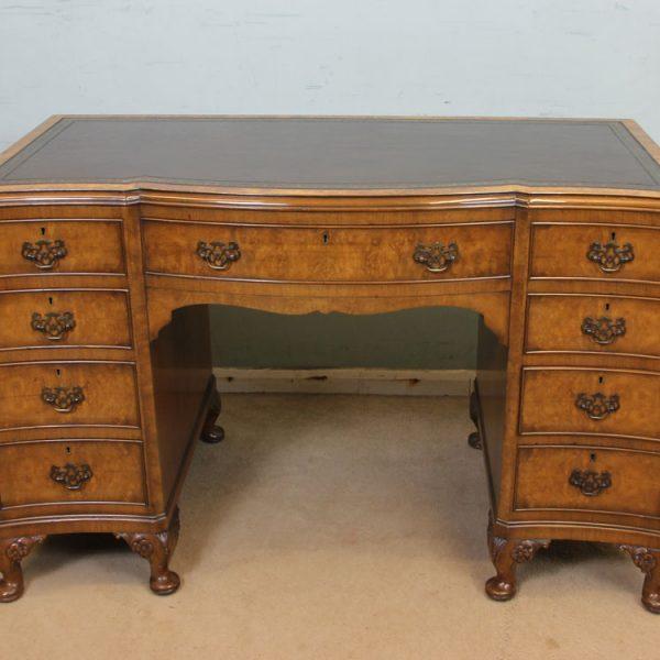 Shaped Burr Walnut Kneehole Writing Desk.