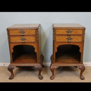 Pair Burr Walnut Bedside Cabinets
